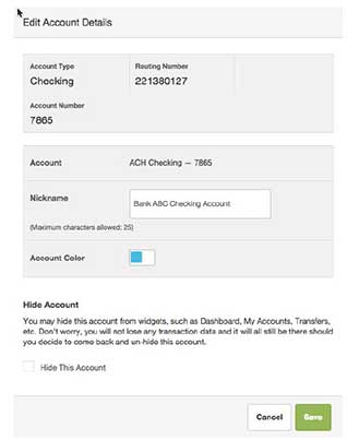 Screenshot of editing the account details of an external account in the Account tab in the Settings widget