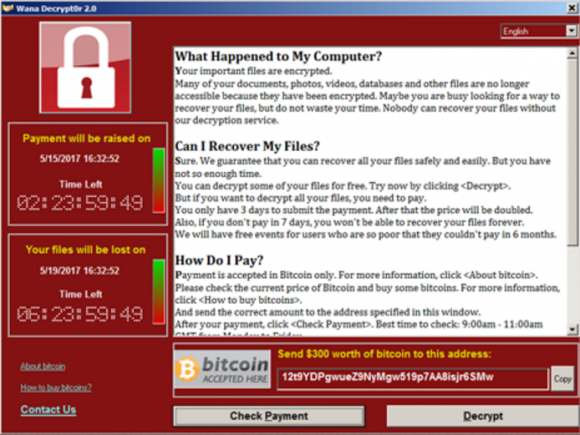 Screenshot of what WannaCrypt, WannaCry, WCry Ransomware ransomware looks like