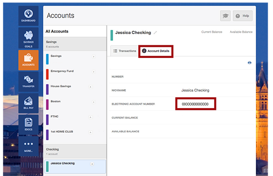 Screen of how to locate your Electronic Account Number for your checking account in the Account Details tab