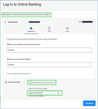 "Screenshot showing prompt for two security questions and display the message ""Mandatory Two-Factor Authentication has been enabled""."
