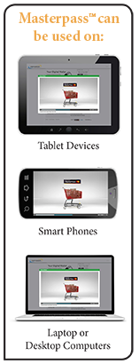 Masterpass can be used on tablet devices, smart phones, and laptop/desktop computers