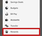 Rewards app selection in mobile banking