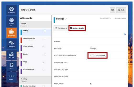 Screen of how to locate your Electronic Account Number for your savings account in the Account Details tab
