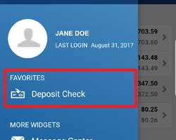 "Screanshot of ""Deposit a Check"" in mobile banking navigation menu"